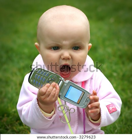 Baby talking by phone