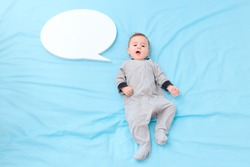 Baby Talking with Speech Bubble Learning Language. Newborn gurgling, cooing and saying first words