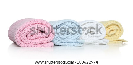 Baby towels in roll on a white background