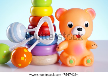 Baby toys, bear and more stuff