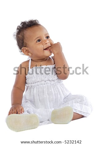 baby  whit hand in the mouth a over white background