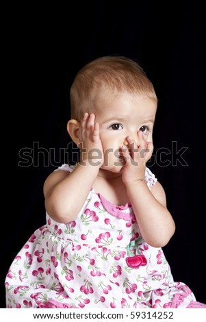 baby with anxious or tired expression, clipping path