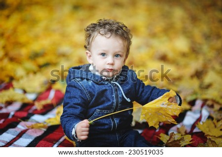 Baby with blue eyes sitting with yellow leaves in hand on a background of autumn leaves