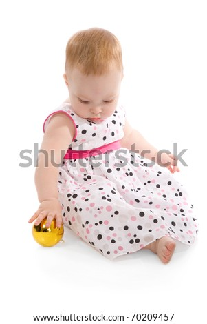 baby with christmas balls isolated on white