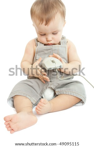Baby with computer mouse