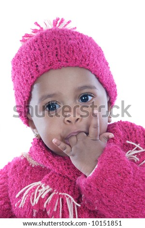 Baby with his finger in the mouth a over white background - stock photo