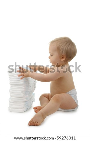 baby with nappy on white background
