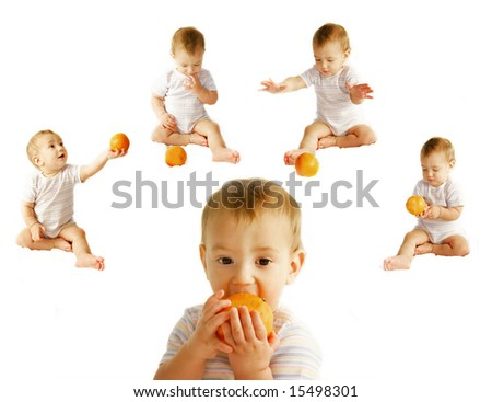 baby with orange over white collection