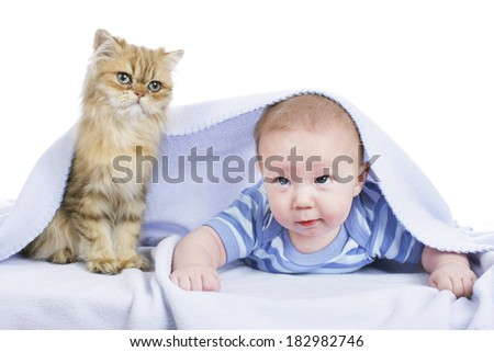 Baby with persian cat
