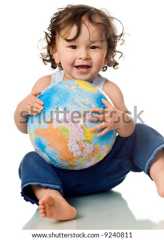 Baby with puzzle globe,isolated on a white background.