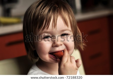 baby with sausage