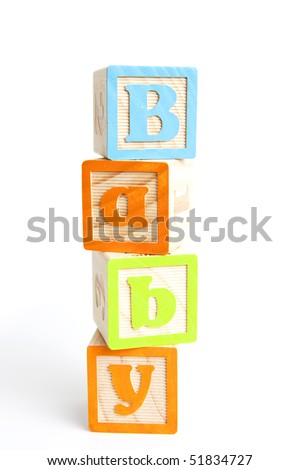 baby written with wooden alphabet blocks
