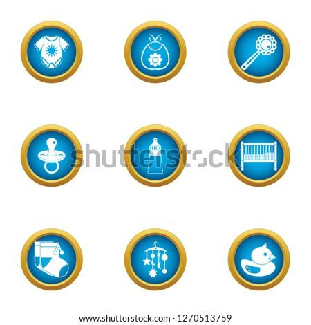 Babyish icons set. Flat set of 9 babyish icons for web isolated on white background