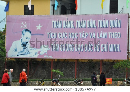 BAC HA - FEB 23: Portrait of Ho Chin Minh on a banner, communist leader of the Vietcong during the Vietnam war, picture taken on February 23, 2013 in Bac Ha, Sapa, Lao Cai district, Vietnam