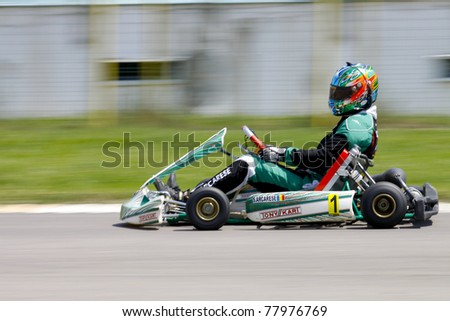BACAU, ROMANIA - MAY 21: Salvatore Arcarese competes in National Karting Championship, Round 2, on May 21, 2011 in Bacau, Romania.