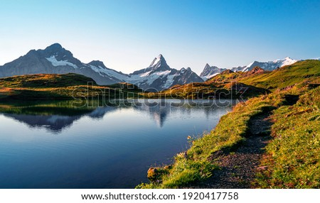 Bachalpsee lake. Highest peaks Eiger, in famous location. Switzerland alps - Grindelwald valley