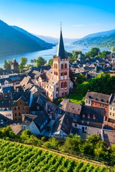 Bacharach aerial panoramic view. Bacharach is a small town in Rhine valley in Rhineland-Palatinate, Germany