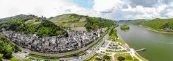 Bacharach am Rhein. Small town on the Upper Middle Rhine River (Mittelrhein). Beautiful aerial 180 Panorama Postcard view. Rhineland-Palatinate (Rheinland-Pfalz), Germany.  UNESCO.