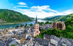 Bacharach am Rhein. Small town on the upper middle Rhine river, Mittelrhein. Beautiful Postcard view with a church. Rhineland-Palatinate (Rheinland-Pfalz), Germany