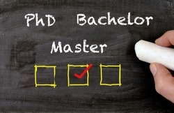 Bachelor Master PhD blackboard with checkboxes