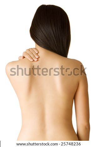Back ache massage - Woman with backache from behind, naked body.