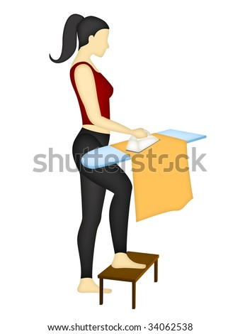Back and shoulder correct position when ironing, on a white background - stock photo