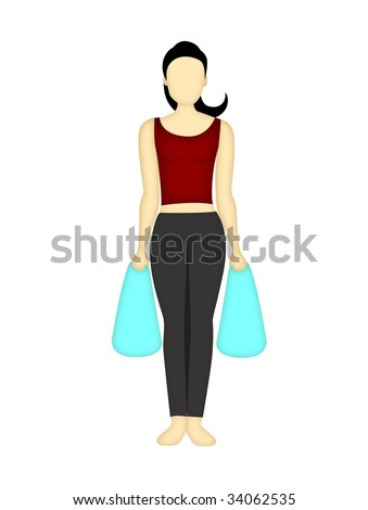 Back and shoulder right position when lifting market bags, on a white background