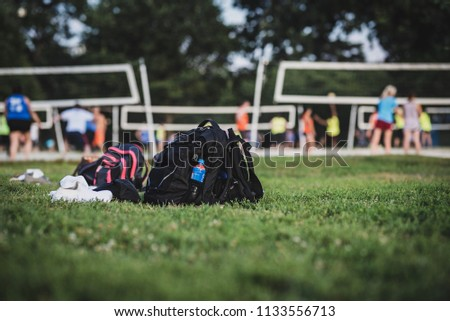Back bag on the grass during a valleyball play