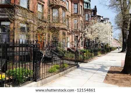Back Bay brownstones in early spring
