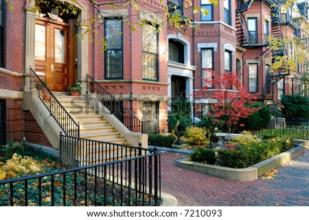 Back Bay brownstones in the fall