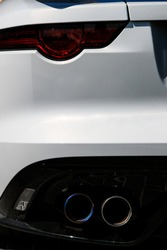 Back car Lights close up. White sports car closeup. Jaguar F-type