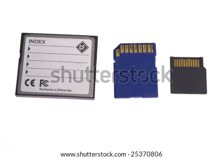 back cf, sd micro sd card isolated on white background
