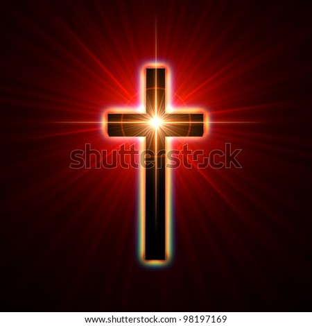 back glowing cross over red light rays - stock photo