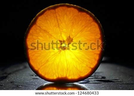 Back-light Orange in the black background