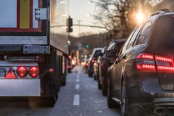 back lights in a traffic jam
