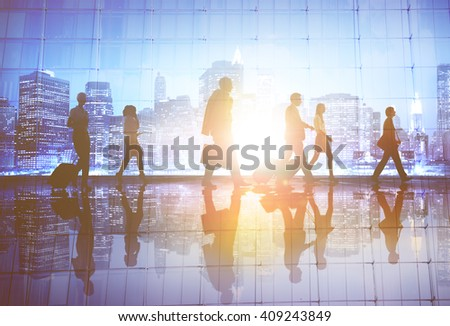 Back lit Business People Working Corporate Concept #409243849