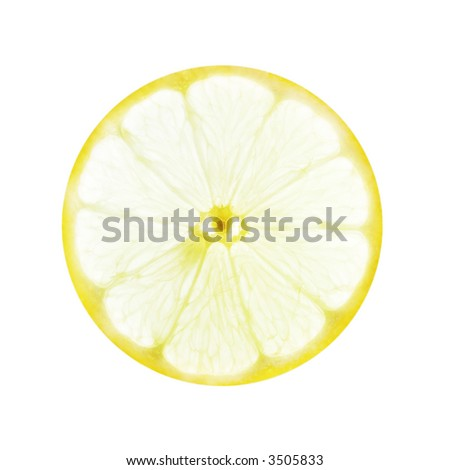 back-lit lemon slice on a white background