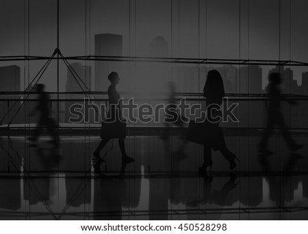 Back Lit People Walking Mall Cityscape Shopaholic Concept #450528298