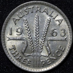 Back of a 1943 Australian three pence Silver coin