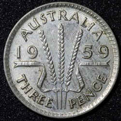 Back of a 1959 Australian three pence Silver coin