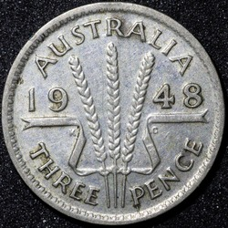Back of a 1948 Australian three pence Silver coin