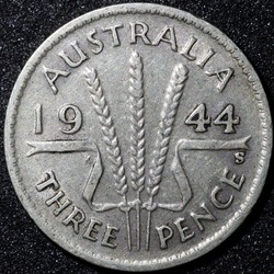 Back of a 1944 Australian three pence Silver coin