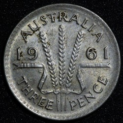 Back of a 1961 Australian three pence Silver coin