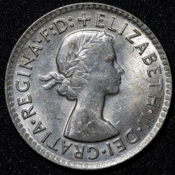 Back of a 1950 Australian three pence Silver coin
