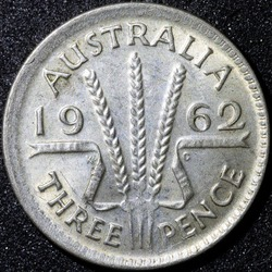 Back of a 1962 Australian three pence Silver coin