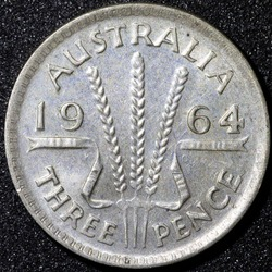 Back of a 1964 Australian three pence Silver coin