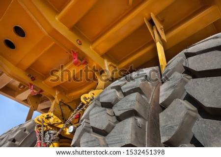 Back of a heavy-duty truck macro , at a diamond mine in Jwaneng, Botswana