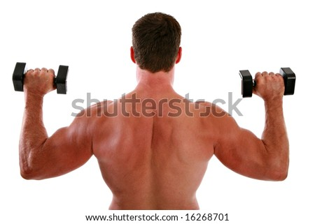 Back of a Man Working Out on Isolated Background