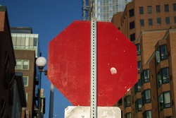 Back of a Red Stop Sign in Downtown Seattle, Washington, USA