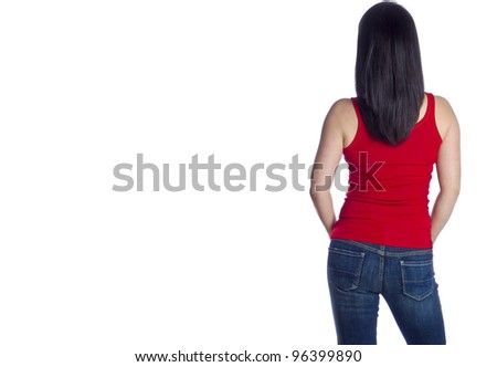 Back of a Woman with Long Black Hair Wearing Blue Jeans and Red Tank Top
